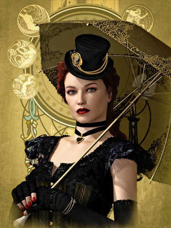 3d vampire: 3d computer graphics of a lady with outfit and parasol in vintage style Stock Photo