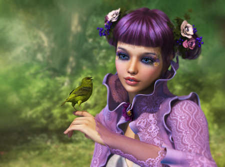 magical fairy: 3d computer graphics of a girl with a bird on her finger