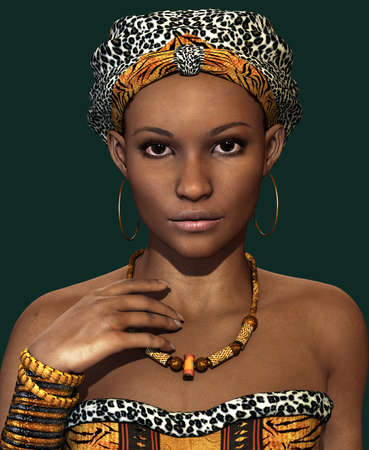 headscarf: 3d computer graphics of a young African woman