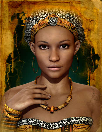 headgear: 3d computer graphics of a young African woman