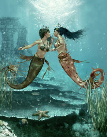 3d computer graphics of a two little mermaids photo
