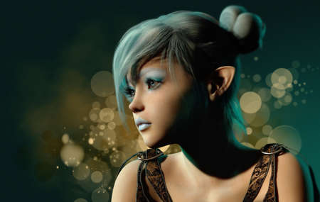 elven: 3d computer graphics of a girl with blue hair and makeup Stock Photo