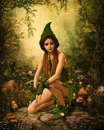 magic mushroom: 3d computer graphics of a female forest elf with green clothing and cap Stock Photo
