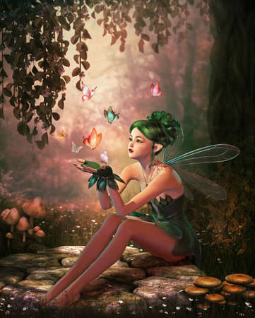 3d computer graphics of a fairy and flying butterflies photo