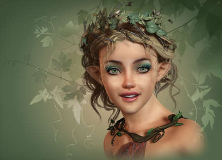close up face woman: 3d computer graphics of a cute smiling girl with elf ears and wreath of leaves in her hair Stock Photo