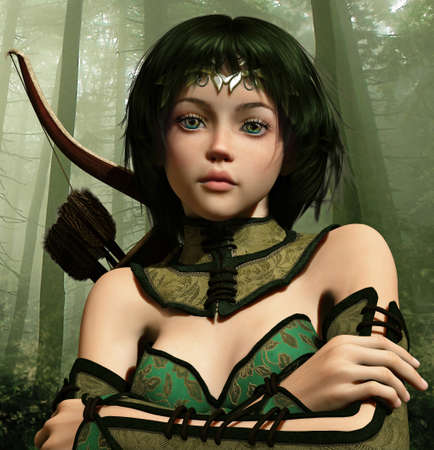 archer: 3d computer graphics of a little fairy with arrow and bow