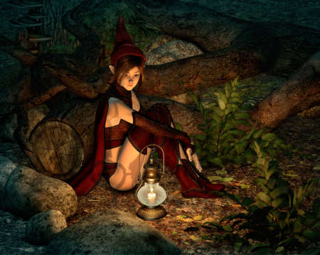 3d computer graphics of a fairy with lantern sitting on the ground in the forest at night Фото со стока