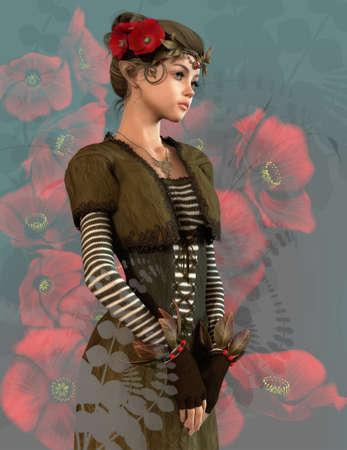 컴퓨터 그래픽: 그녀의 머리에 양 귀 비와 귀여운 여자의 3 차원 컴퓨터 그래픽 스톡 사진
