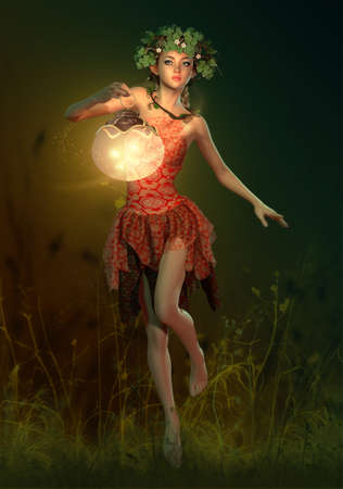 pixie: 3D computer graphics of a fairy with a lantern in her hand