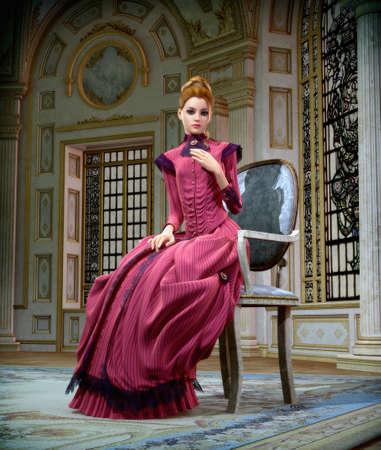3D computer graphics van een jonge vrouw met een roze jurk uit de 19e eeuw