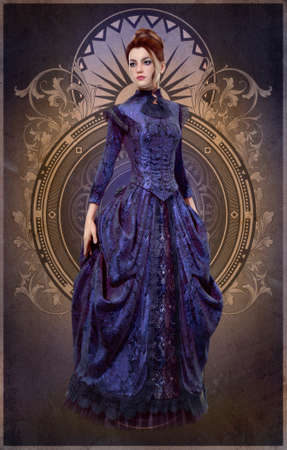 19 世紀からの紫色のドレスの若い女性の 3 D コンピュータ ・ グラフィックス 写真素材