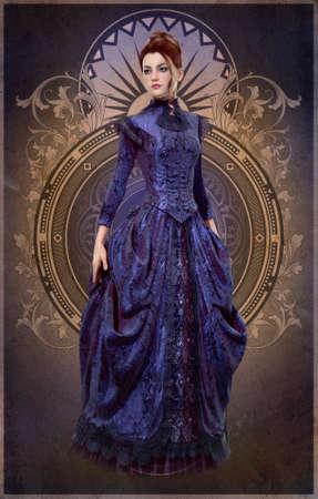 bonito: Gráficos por ordenador en 3D de una mujer joven con un vestido de color púrpura desde el siglo 19