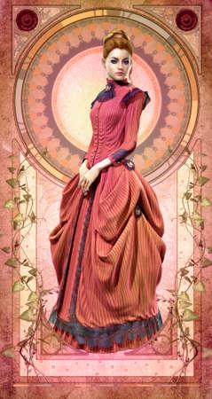 컴퓨터 그래픽: 19 세기에서 핑크 드레스와 젊은 여자의 3D 컴퓨터 그래픽 스톡 사진