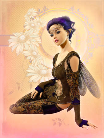 fairyland: 3d computer graphics of a cute fairy with purple hair and dragonfly wings