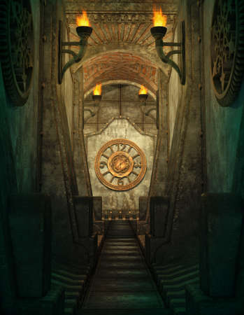 een 3D computer graphics van een passage met fakkels en klok aan de muur