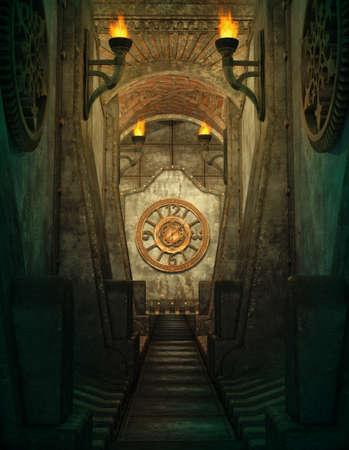aventura: un 3d de gráficos por ordenador de un pasaje con antorchas y el reloj en la pared Foto de archivo
