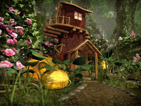 컴퓨터 그래픽: 3d computer graphics of a boot house, which stands in a garden with pumpkins 스톡 사진