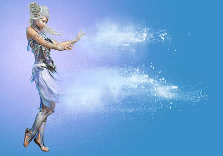 snow queen: 3d computer graphics of a lady in a Snow Queen fantasy dress