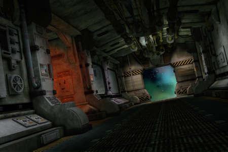 3D computer graphics van een interieur uit een science fiction sterrenschip Stockfoto