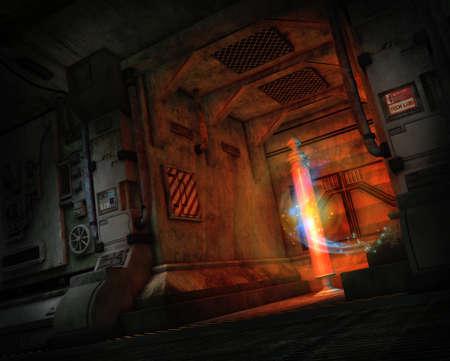 3D computer graphics van een science fiction transporter in actie