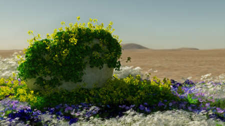 longing: 3D computer graphics of a desert landscape with stone and blooming plants