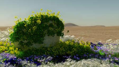 컴퓨터 그래픽: 3D computer graphics of a desert landscape with stone and blooming plants