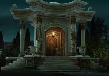 lighting column: 3D computer graphics of a roman pavilion