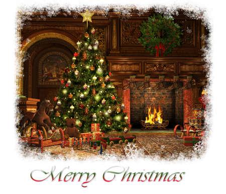 osos navideños: Gráficos CG en 3D de una sala de estar en la víspera de Navidad Foto de archivo
