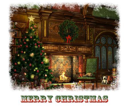 3d cg: 3d CG graphics of a living room on Christmas Eve Stock Photo