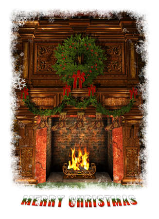ambiance: 3d Computer Graphics of a Fireplace decorated for Christmas with Holly Wreath, Garland and Stockings