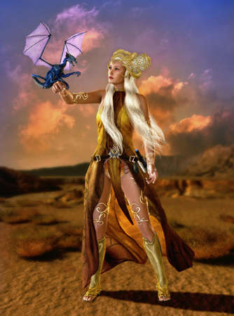 priestess: lady with fantasy hairstyle and fantasy clothes with a dragon cub on the arm Stock Photo