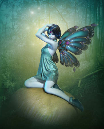 glowing skin: 3d computer graphics of a blue fairy with butterfly wings