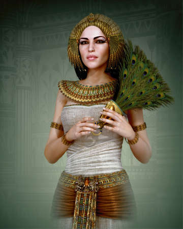 ancient: 3D computer graphics of a young woman with ancient Egyptian makeup and clothing Stock Photo