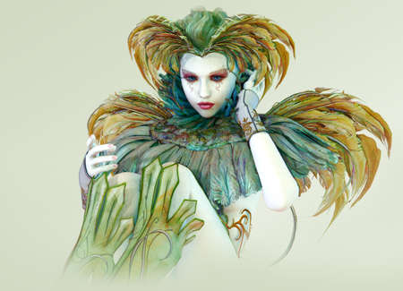 pierrot: 3D computer graphics of a harlequin with colorful feather jewelry