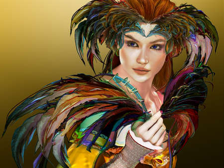 3D computer graphics of a young woman with colorful feather jewelry Stock Photo - 32728198