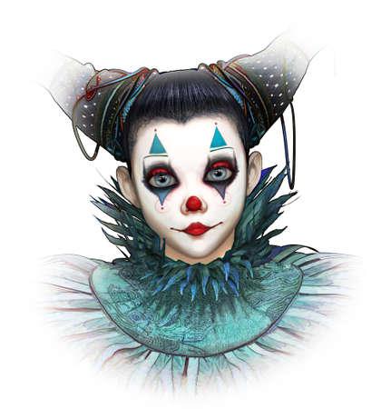 3D computer graphics van een vriendelijk lachende clown