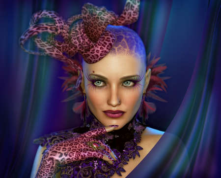 3d weird: 3D computer graphics of a Portrait of a Lady with Animal Print Fascinator and Gloves
