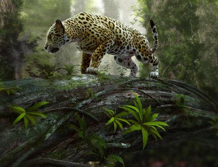 jaguar: Gráficos CG en 3D de un jaguar en el vagabundeo