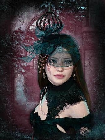 컴퓨터 그래픽: 3d computer graphics of a girl with clothing in dark romantic style 에디토리얼