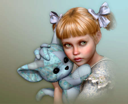 whine: 3D computer graphics of a cute girl with bows in her hair and a stuffed toy in the arms