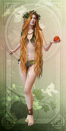 컴퓨터 그래픽: 3D 컴퓨터 그래픽은 그녀의 손에 사과와 삼미 중 하나를 보여줍니다