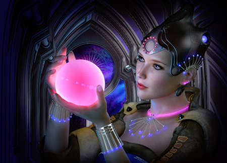 3D computer graphics of a portrait of a woman with clothing and jewelry in science fiction style and a glowing ball in her hand photo