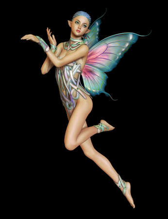 3D computer graphics van een zwevende fee met gevlochten blauwe haren en vlindervleugels Stockfoto