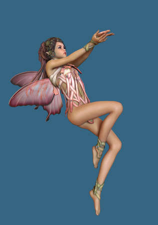 elven: 3d computer graphics of a hovering fairy with butterfly wings Stock Photo