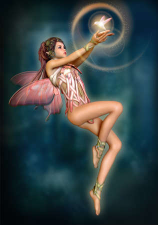 hovering: 3d computer graphics of a hovering fairy with butterfly wings Stock Photo