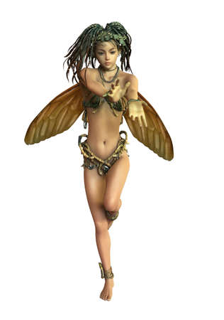 fantasy woman: 3d computer graphics of a fairy with braided hair and butterfly wings Stock Photo