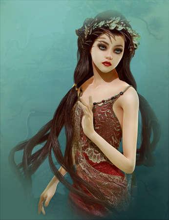 컴퓨터 그래픽: 3d computer graphics of a girl with Asian fantasy hairstyle