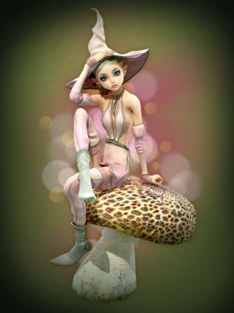 3d computer graphics of an elf with witch hat sitting on a mushroom Stock Photo