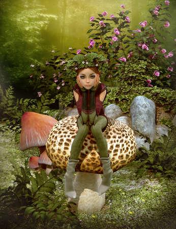 컴퓨터 그래픽: 3d computer graphics of a fairy with a wreath on her head, sitting on a mushroom