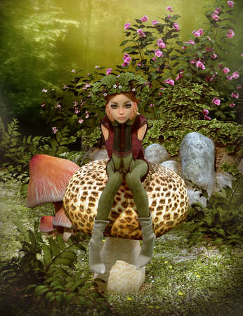 enchanted forest: 3d computer graphics of a fairy with a wreath on her head, sitting on a mushroom